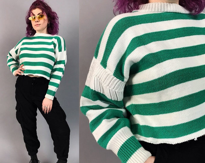 90's Fraying Hem Striped Knit Pullover Sweater Medium - Nineties Cropped Casual Cozy Green White Horizontal Stripe Pullover Basic Sweater