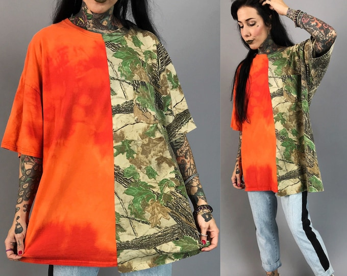 Upcycled Mixed Prints Reconstructed T-shirt Adult XL Plus - Remade Tie Dye Orange Camo Weird Half & Half Remade Split Grunge Streetwear Tee