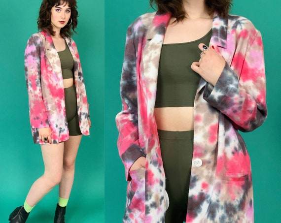 90's Linen Tie-dye Blazer Jacket Large - Baggy Slouchy Pink Red Gray Unique Funky Grunge Outerwear - VTG Nineties Tiedye Casual Fun Layer