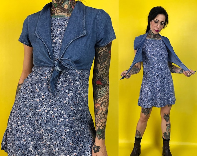 90's Tie Front Denim Floral Mini Dress XS/2 - Nineties Casual Everyday Spring Day Dress - Blue Denim Top Girly Preppy Cute Mini Shirt Dress