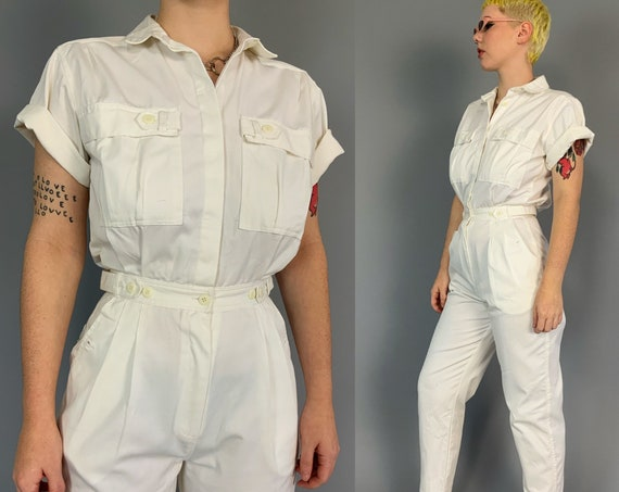 90's White Coveralls Pants Jumpsuit Womens 6/7 - Vintage Basic Cotton One Piece Tapered Leg Collared Pants Coveralls Pants Jumper w/ Pockets