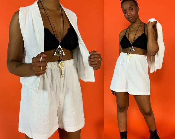 80's Vintage Two Piece Shorts Set Medium - DEADSTOCK White Shorts & Vest Terrycloth Casual Matching Lounge Outfit - Coordinates Top Shorts