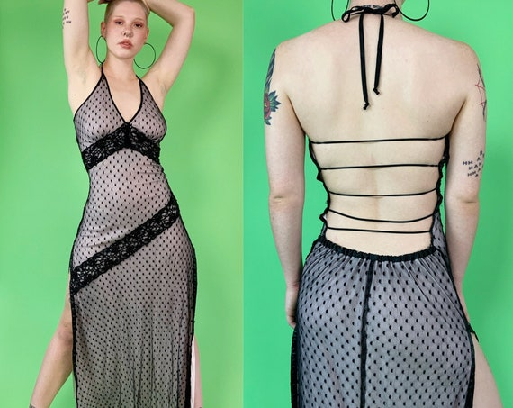 Y2K Backless Beaded Halter Dress Small - RARE Iconic 2000s Sexy Openback Party Club Dress Strappy Low Back Detail - VTG High Side Slits Mesh
