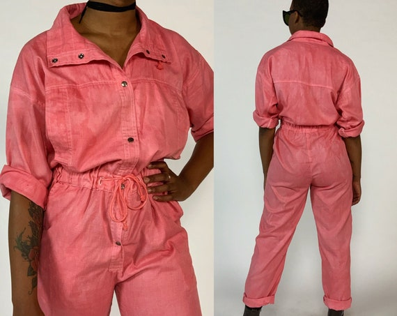 90's Vintage Pants Jumpsuit Small US 6/8 - Unique Hand Dyed Salmon Pink Basic Cotton One Piece Mock Neck Pants Coveralls Jumper w/ Pockets