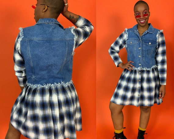 90's Denim Mini Dress Medium US 8 - RARE Plaid Button Front Frayed Flannel Dress - Casual Vintage Grunge Everyday Long Sleeve Fall Dress
