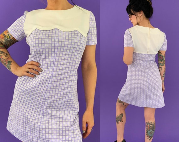 60's Handmade Vintage Mini Dress Small US 6 - Sixties Lolita Girly Short Mod Check Printed Purple A-Line Day Dress - True Vintage Checkered