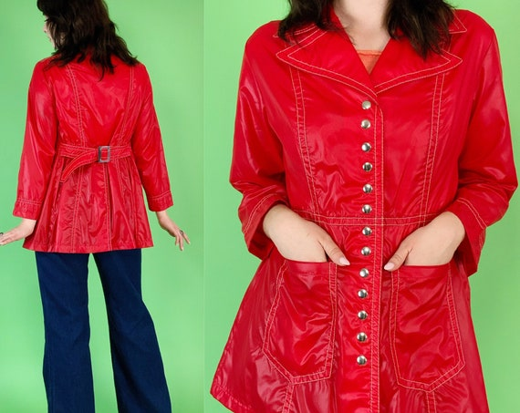 Retro 60s/70s MOD Jacket 6/8  - Cherry Red A-Line Snap Front Jacket - RARE True Vintage Pearlized Nylon Fashion Jacket w/ Collar & Belt