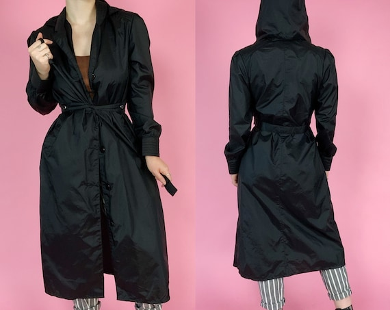 80s Vintage Hooded Trench Coat Medium 8/10 - Long Black TOTES Lightweight Trench Rain Jacket w/ Belt - Goth Chic Streetwear 1980s Outerwear