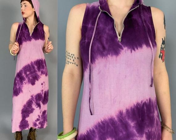90's Hooded Tie Dye Linen Midi Dress Medium 6/8 - Vintage Casual Monochromatic Purple - Zip Up Tie Dye Bohemian Hippie Festival Tank Dress