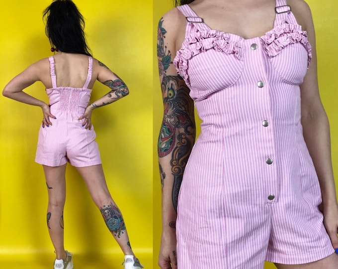 90's Pink Pinstriped Denim Shorts Romper Size Small 4/6 - DEADSTOCK Pastel Pink One Piece Playsuit - VTG RARE Casual Ruffle Overalls Shorts