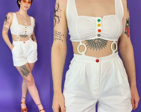 RARE 90's Cut Out White Shorts Romper Small US 6 - Unique Rainbow Buttons Remade VTG Summer Playsuit Mid-drift Overalls Shorts One Piece