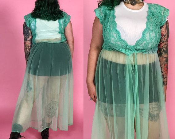 80's Hand Dyed Seafoam Green Sheer Layering Top M/L - Unique See Through Lingerie Duster Long Flowy Lace Layering Top Floor Length Cover Up