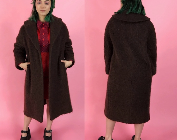 60's Brown Mohair Winter Coat Medium - Fuzzy Textured Thick Warm True Vintage Heavyweight Soft Lined Shift Over Coat w/ Pockets & Collar