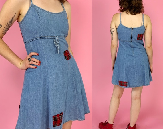 90's Denim Dress W/ Plaid Patches Allover Small - Upcycled Summer Tank Dress A-line Denim Mini Dress - VTG Casual Plaid Patch Jean Dress