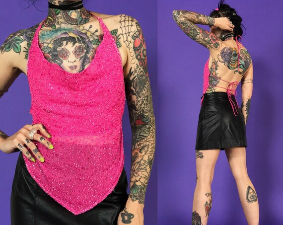Hot Pink Backless Beaded Open Back Halter Small - Y2K 2000s Sexy Openback Party Top with Tie Back Detail - VTG Club Raver Triangle Dance Top