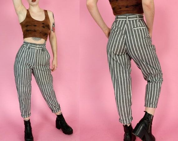 """90's DEADSTOCK Gray Pinstriped Womens Trousers 27"""" High Waist w/ Belt - Vintage Tapered Printed Casual Pants - Nineties VWT Vertical Striped"""