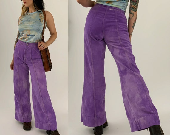 70's High Waisted Wide Leg Denim US 6/7 - Purple Hand Dyed Vintage Jeans Wide Leg Flare Front Seam RETRO RARE Unique Denim Everyday Pants -