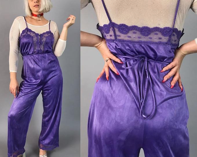 80's Purple One Piece Pants Lingerie Suit Medium - Hand Dyed Vintage Nylon Lace Trim Jumpsuit - Unique Tie Dye One Piece FUN funky One Piece