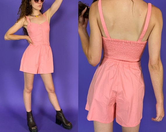 90's Vintage Coral Shorts Romper Small US 4 - Pale Pink Basic Girly Summer Shorts Playsuit - Womens Nineties One Piece Outfit Shorts Jumper