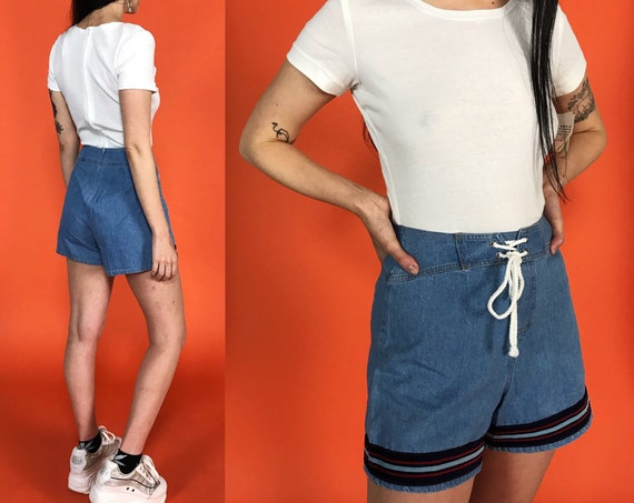 90s Casual One Piece Shorts Romper Small - Preppy Blue White Cotton DEADSTOCK Shorts Playsuit - Vintage Sporty Nautical Chambray Shorts