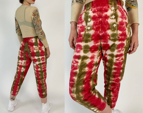 90's Tie Dye Trousers Hand-dyed Tapered Cotton Pants Small 4/6 - Red Brown Vibrant Dyed VTG Upcycled Womens Unique SPRING Casual Trouser