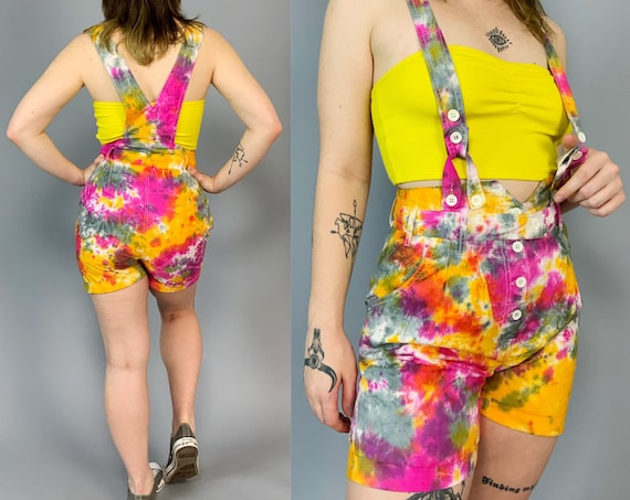 Upcycled 90's Vintage Hand Tie Dyed Overall Romper Medium U.S. 7-8 - Pink Orange NEON Shorts Summer One Piece UNIQUE Funky Tiedye Overalls