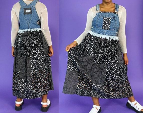 90's Vintage Deadstock Denim Overall Dress Medium 7/8 - Vintage Fall Jumper Patchwork Floral Long Denim Overall Dress Casual Fall VTG