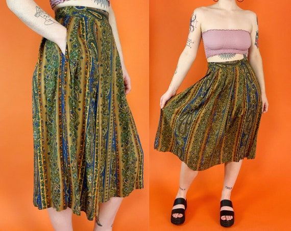 """90's Fall Paisley Midi Skirt Small 27"""" - Vintage Fitted High Waist Paisley Print A-Line Midi - Brown Earth Tones Casual Long Cotton Skirt"""