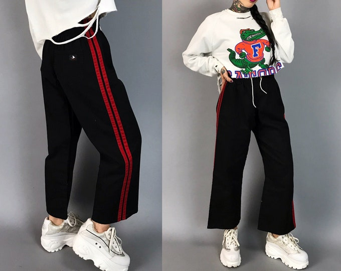 Striped Leg Sporty High Waist Pants Size XS - Boys Sporty Baggy Red & Black Double Striped Wide Leg Casual Baseball Sports Pants