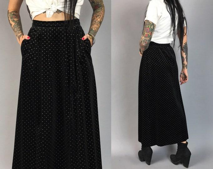 80's Black Glittery Velvet Maxi Skirt XS 2/3 - Fitted High Waist Fancy Formal RARE Goth Grunge Black Gold Glitter Stars Maxi Skirt Lined