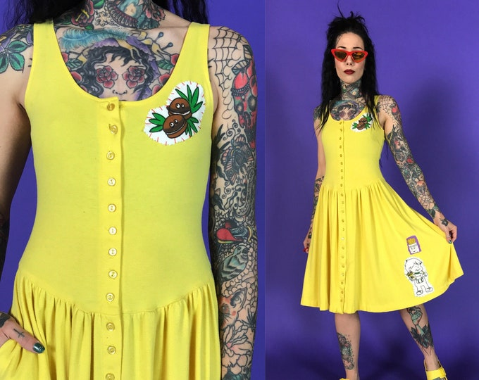 80's McDonalds Patched Upcycled Yellow Sundress Small 4 - Remade Unique Fast Food Fries Hamburger Sundress - Drop Waist Canary Yellow Midi