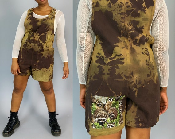 90's Upcycled Tie-Dye Shorts Romper Medium 8/10 - Brown Earth Tones Raccoon Patched Denim One Piece - 1 of 1 Unique Bleached FALL Overalls