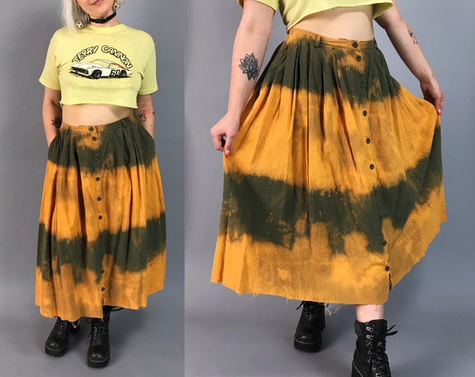 Vintage Tie Dye Button Front High Waist Midi 8/10 - Bleach Green Rustic Orange Tie Dye Frayed Hem Skirt - Loose Casual Skirt w/ Pockets