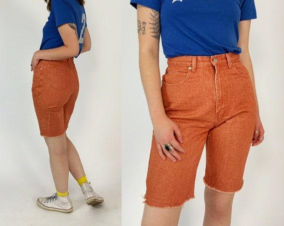"90's Orange Cutoff Jordache Long Jean Shorts 30"" High Waist - Vintage Basic Frayed Denim Bermuda Shorts - Summer Casual Acid Wash Shorts"