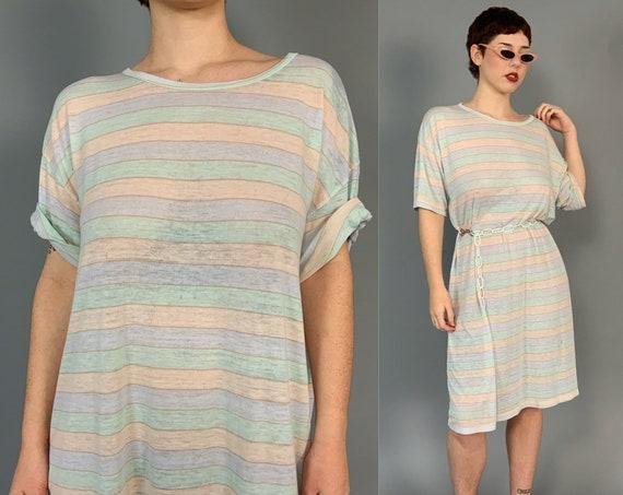 80's Pastel Striped Worn Paper Thin Vintage Long Line T-Shirt Dress - Horizontal Striped One Size Slouchy Distressed Grunge Sleep Shirt