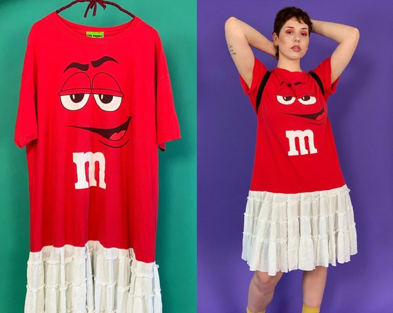 Upcycled Drop Waist T-shirt Dress Medium - 1 of 1 Lunar Eclipse Dress Unique Red M&Ms Shirt Dress - Vintage Reworked Ruffle Hem Streetwear