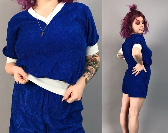 70's Vintage Two Piece Shorts Set Womens Medium - Retro RARE Sporty Matching Outfit Midnight Blue Terrycloth Poly Textured Tee & Shorts
