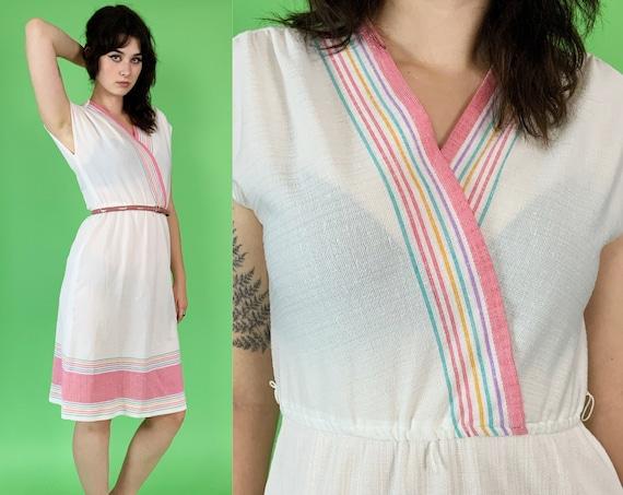80's White Pastel Rainbow Cotton Sundress Small - Lightweight Girly Day Dress Midi Capsleeve V-neck Feminine  Vintage - Pastel Pink Retro