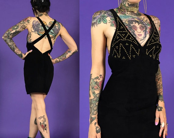 80s Black Suede Mini Cocktail Dress Small 3/4 - Bedazzled Top Criss Cross Back Leather Minidress - Vintage Above Knee Sexy Pencil Date Dress