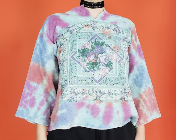 Handmade Tie Dye Pullover Sweatshirt - XXL Womens Tiedye Sweater - Extra Large Blue Pink Dyed Baggy Longsleeve Patchwork Floral Top