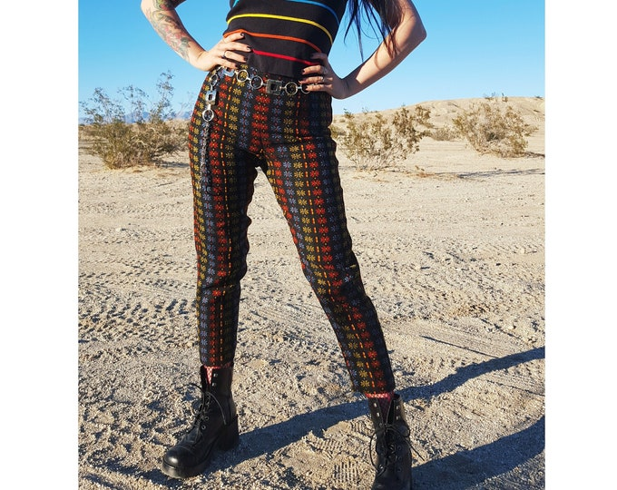 50's Colorful Printed High Waist Midcentury Wool Pants XS - Kitten Britches 60s Tapered Leg Casual Black Rainbow Floral Highwaist Pants