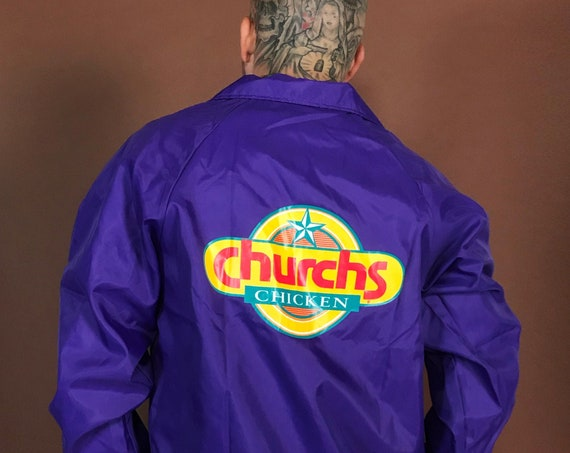 90's Church's Chicken Fast Food Snap Front Staff Nylon Windbreaker Jacket Medium - Unisex Retro Logo Windbreaker Purple Fast Food Ad Jacket