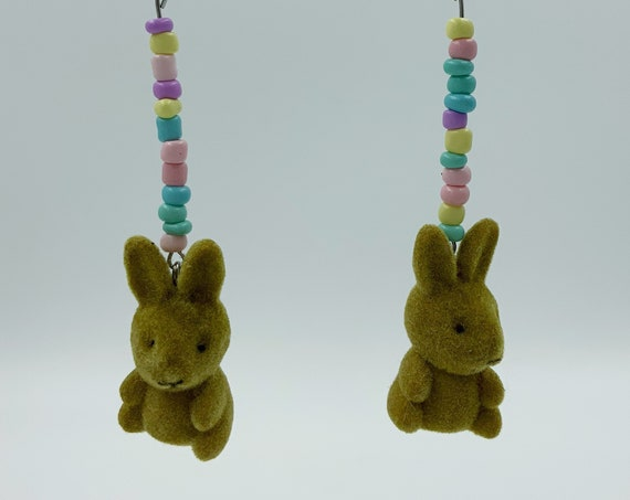 Pastel Beaded BUNNY Dangley Earrings - Handmade Recycled Long CUTE Trendy Rainbow Statement Earrings - Long Easter Kawaii Rabbit Earrings