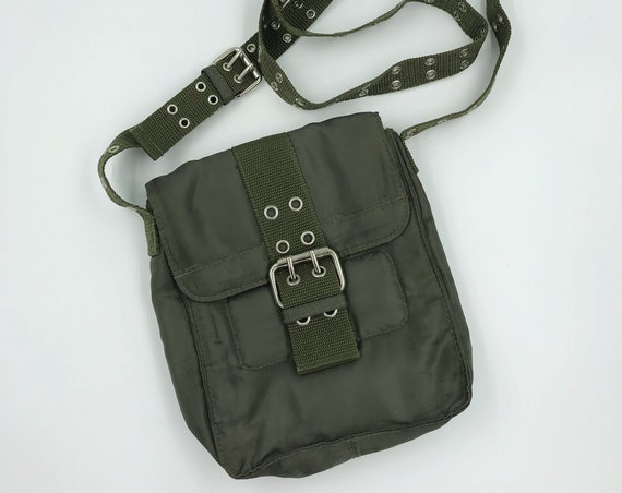 Army Green Grommet Cross Body Purse - Delias Y2K Mini Adjustable Long Strap Shoulder Bag - Drab Olive Green Vinyl Utility Style Eyelet Bag