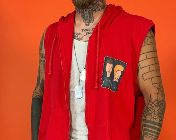 90's Mens Sleeveless Beavis & Butthead Patched Hoodie L/XL - Red Hooded Zip Up Tank Top Sleeveless Outerwear Vintage Upcycled Remade UNIQUE