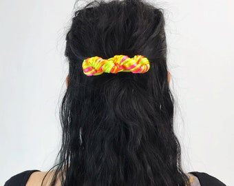 80s/90s Hair Barrette French Clip - Two Tone Neon Pink Yellow Braided Accessory Handmade Fun Teen Hair Bow - Hot Pink Statement Hair Clip