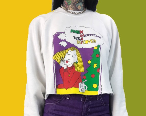 90's Shopaholic Credit Card Big Spender Cropped XMAS Sweatshirt Medium - Funny Humor Cash Graphic Cartoony Sweater White Pullover Jumper
