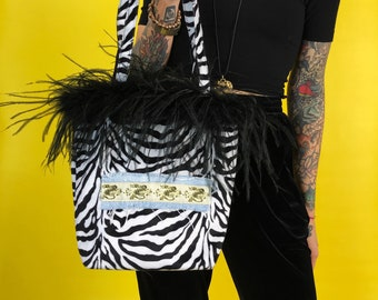 Upcycled Zebra Print Print Top Handle Purse w/ Dragon Patch - Animal Print Y2K Wild Funky Grunge Furry Feather Trim Black White Patched Bag