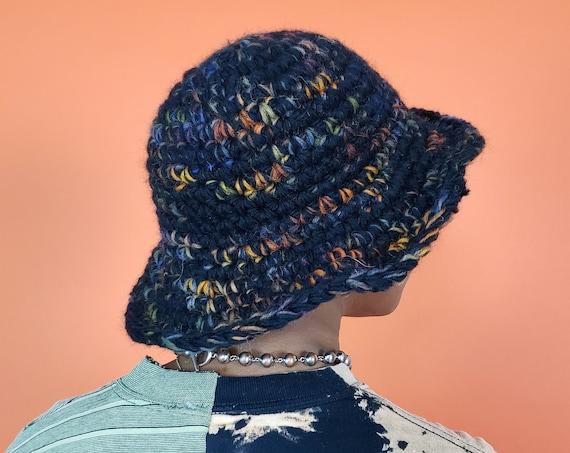 Handmade Crochet Bucket Hat - Unique Black Multi Womens Knit Hat - Soft Handknit Fall Winter Upcycled Wool Yarn Bucket Hat