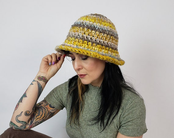 Handmade Crochet Bucket Hat - Unique Yellow Multi Womens Knit Hat - Soft Handknit Fall Winter Upcycled Wool Mohair Yarn Bucket Hat
